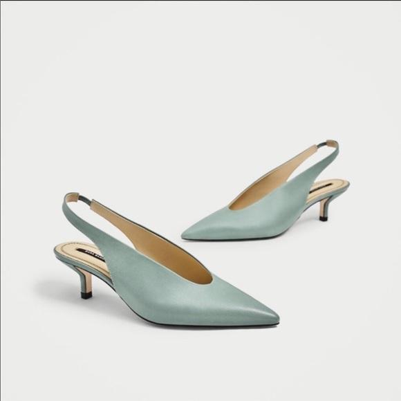38b818cc2ee Zara Seafoam Green Slingback Leather Heels Sz 6.5. NWT